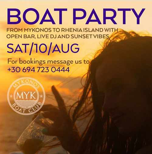 Mykonos Boat Club promotional ad for one of its 2019 summer boat party cruises