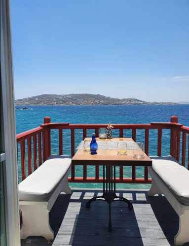 One of the new balconies at Kastro restaurant Mykonos photographed for a TripAdvisor review by CatarinaeFabricio