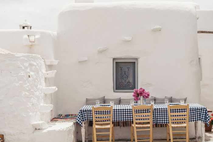 Rizes Folklore Farmstead Mykonos website photo of a table at its traditional restaurant