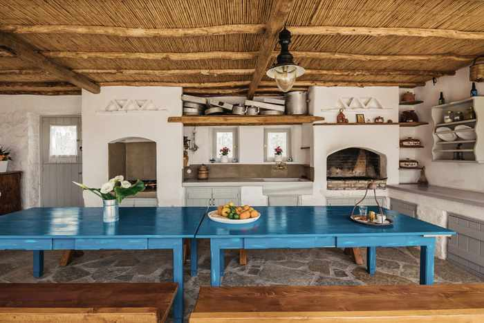 Rizes Folklore Farmstead Mykonos website photo of its traditional kitchen