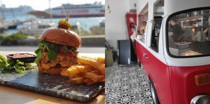 Cantina Mykonos photos of its burger platter and its kitchen food truck