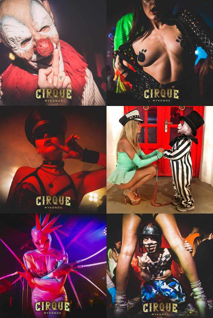 Promotional images for Cirque Mykonos from the nightclub's social media pages