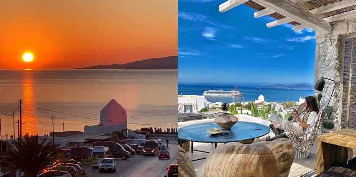 I Frati Mykonos restaurant social media photos of the sunset and daytime views from its patio