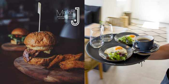 Major J restaurant Mykonos photos of its burger and egg dishes