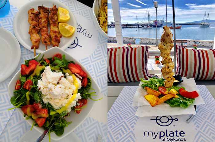 Salad meat skewers and marinated chicken dish at My Plate Mykonos restaurant