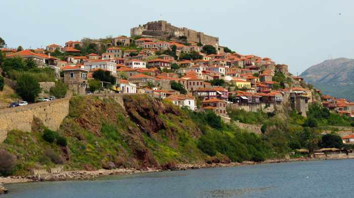Harbour view of the town of Molyvos on Lesvos island