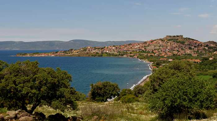 View of the town of Molyvos on Lesvos island