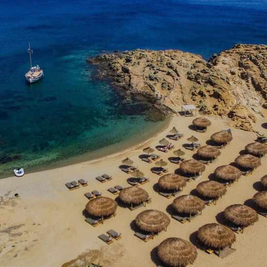 Alemagou beach club Mykonos aerial view