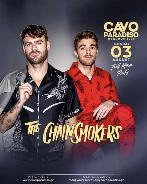 Cavo Paradiso Mykonos August 3 Full Moon Party featuring The Chainsmokers