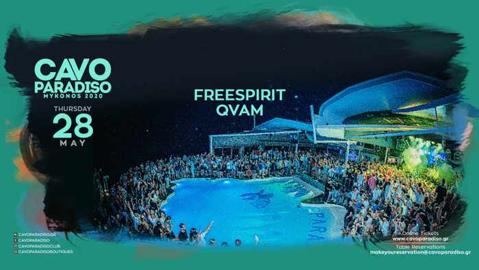 Cavo Paradiso Mykonos May 28 livestream performance by DJs Freespirit and QVAM