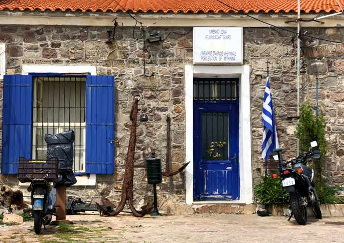 Coast guard and port station office at Molyvos harbour on Lesvos island