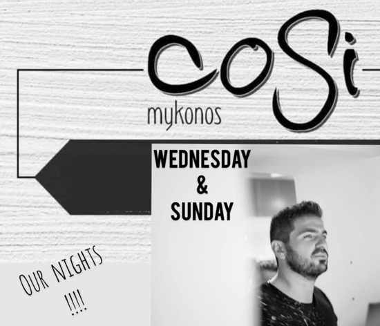 Cosi Bar Mykonos presents Stelios Kolaxidis on WEdnesdays & Sundays during summer 2020