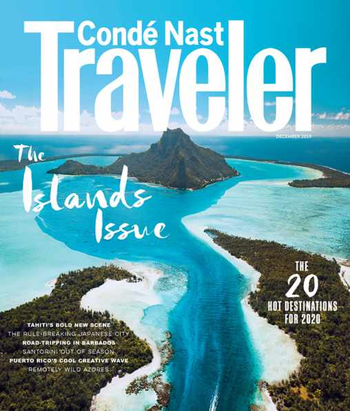 Cover of the December 2019 issue of Conde Nast Traveler magazine