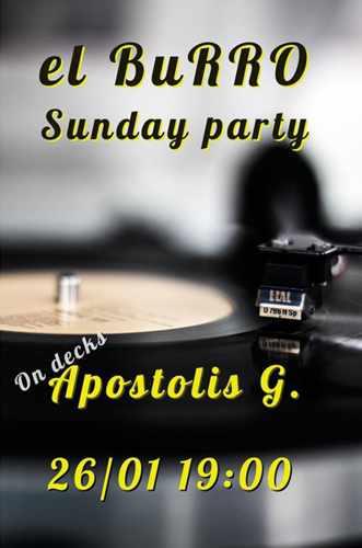 El Burro Mykonos Sunday Party with DJ Apostolis G on January 26