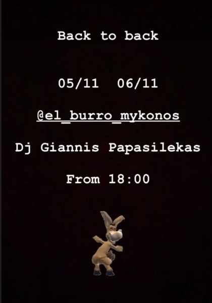 El Burro Mykonos live DJ events November 5 and 6