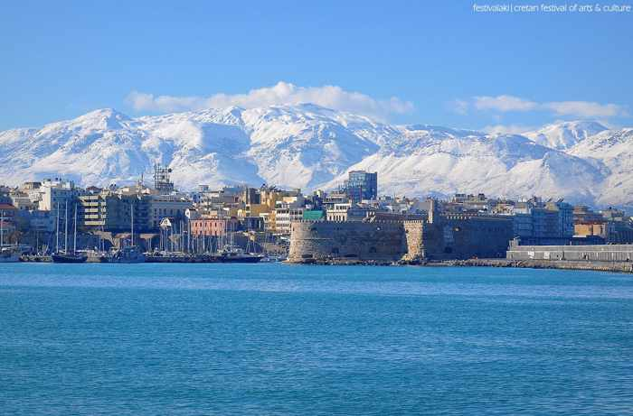 Winter view of Heraklion Crete harbourfront in a photo from the Festivalaki page on Facebook