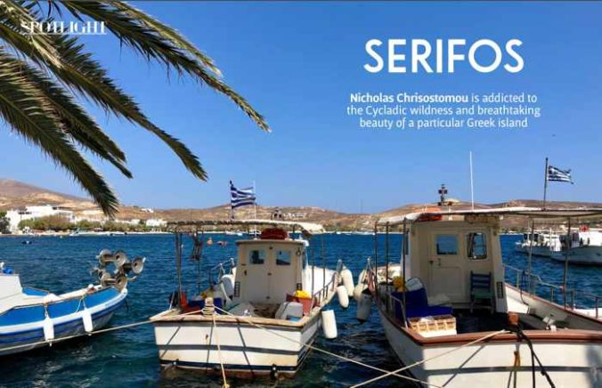 Screenshot of a Cultured Traveller magazine article about Serifos island