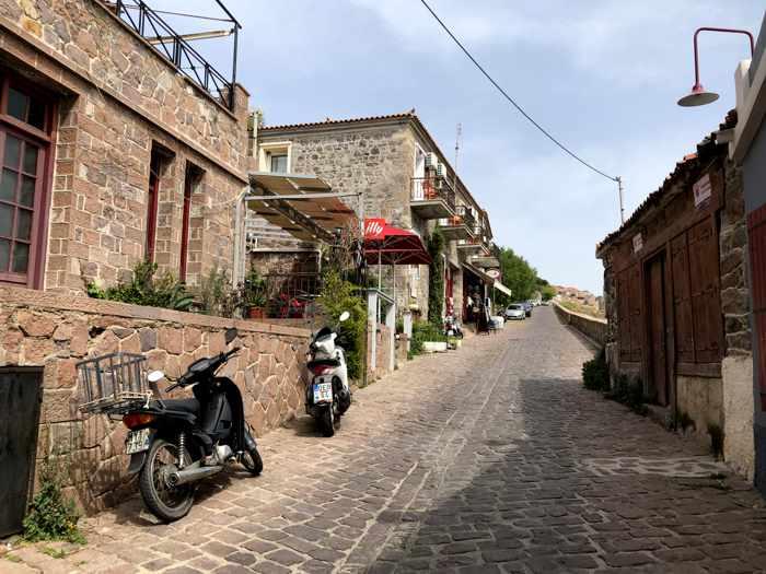 view up the main road through Molyvos on Lesvos island