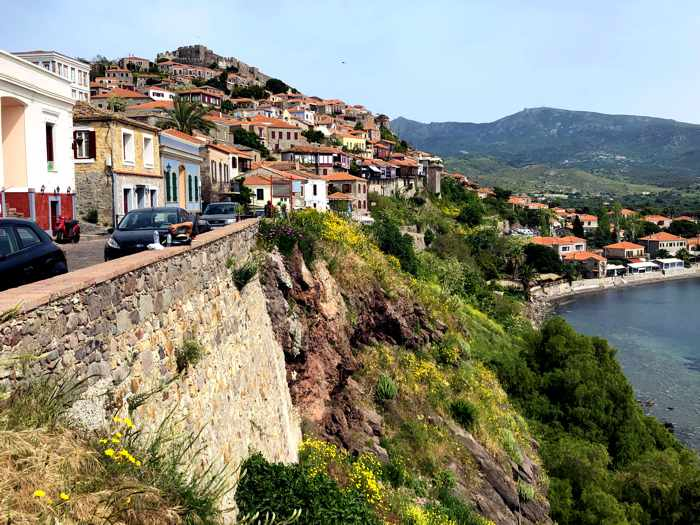 View from a lookout point on the main street in Molyvos on Lesvos