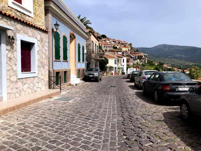 the main street in Molyvos on Lesvos island