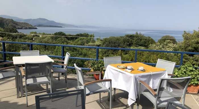 View from the breakfast terrace at the Delfinia Hotel in Molyvos on Lesvos island
