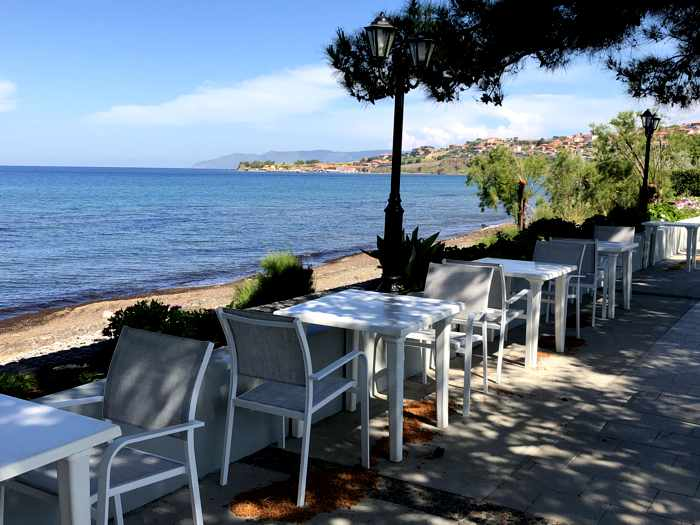 View from the swimming pool patio at the Delfinia Hotel in Molyvos on Lesvos island