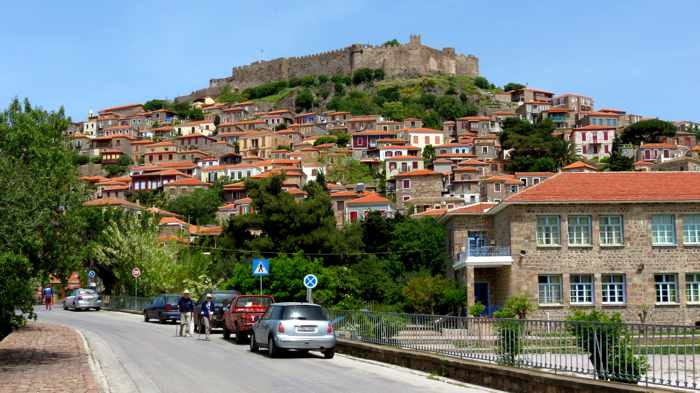 approaching the commercial area of Molyvos on Lesvos island
