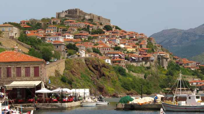 Molyvos harbour and town on Lesvos island