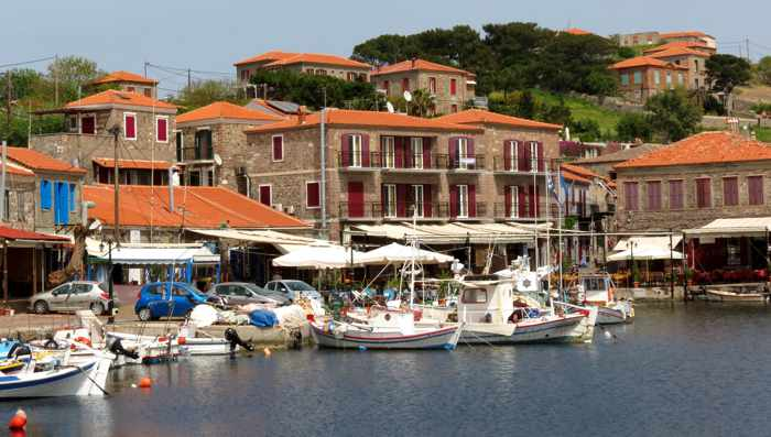 the harbour at Molyvos town on Lesvos island