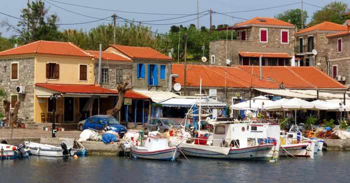 tavernas along the harbourfront at Molyvos on Lesvos island