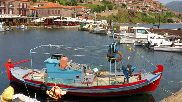 a fishing boat in Molyvos harbour on Lesvos island