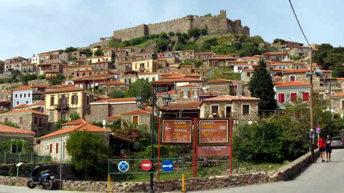 view from the main intersection in Molyvos town on Lesvos island