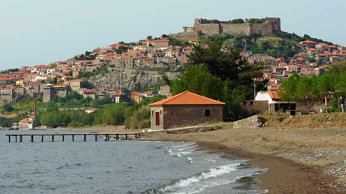 Molyvos town as seen from the beach at the Hotel Delfinia on Lesvos