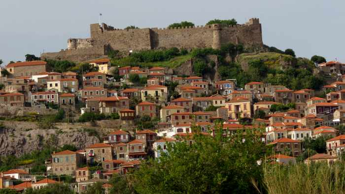 Molyvos castle and upper town on Lesvos island