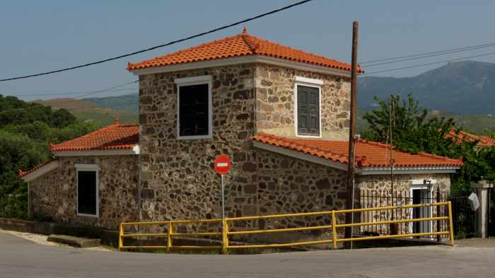 a stone building in Molyvos on Lesvos island
