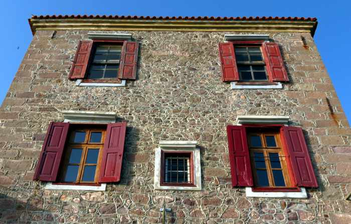 a building along the main street in Molyvos on Lesvos island
