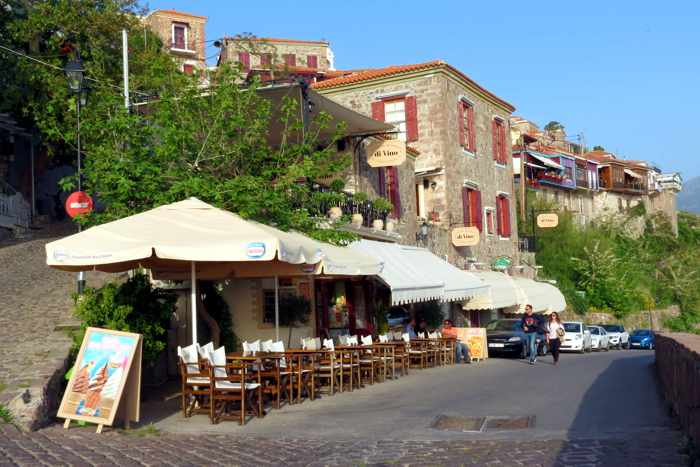 cafe and restaurant buildings in Molyvos on Lesvos island