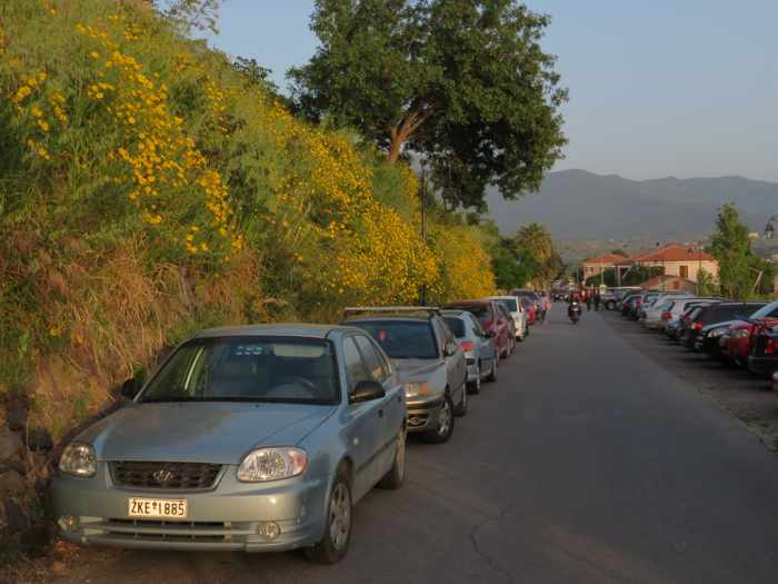 the main road in Molyvos on Lesvos island