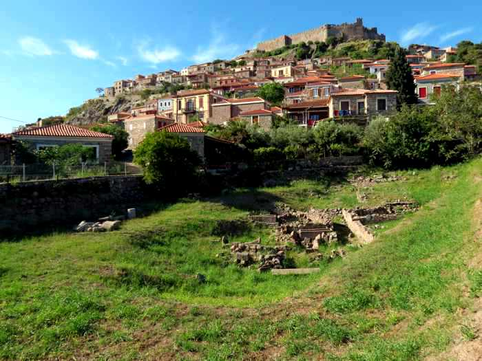 Archaeological site in Molyvos on Lesvos island