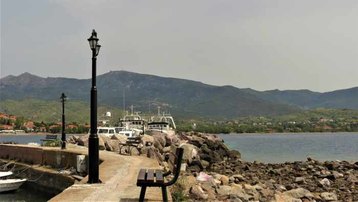 view from the Molyvos harbour on Lesvos island