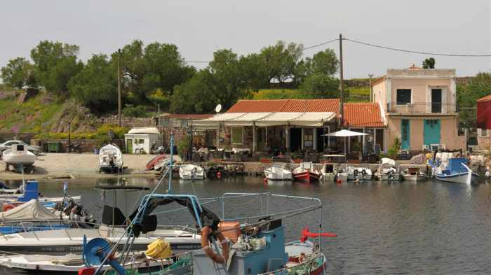 tavernas at the harbour in Molyvos on Lesvos island