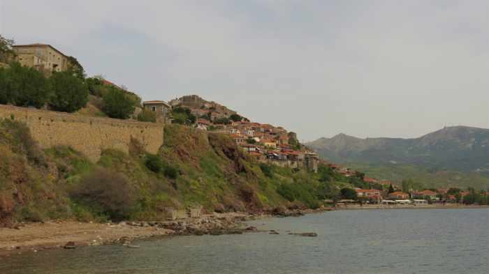 view from the harbour jetty at Molyvos on Lesvos island