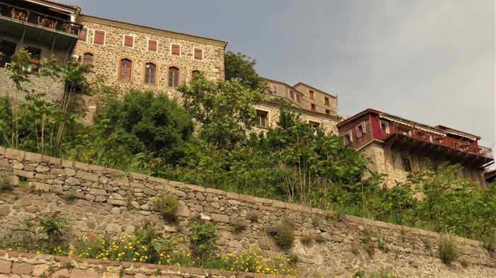 hillside buildings in Molyvos on Lesvos island