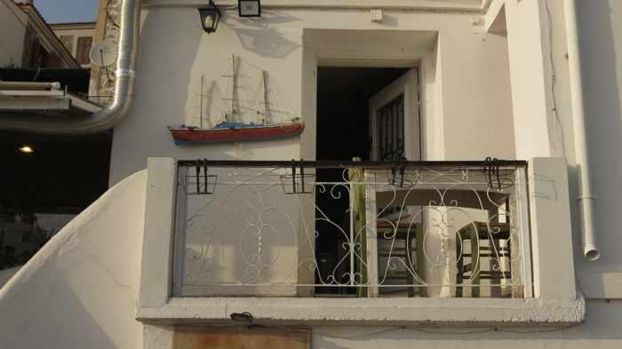 a small restaurant balcony in Molyvos on Lesvos island