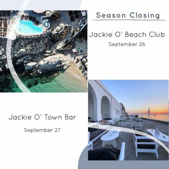 JackieO beach club and town bar Mykonos 2020 season closing announcement