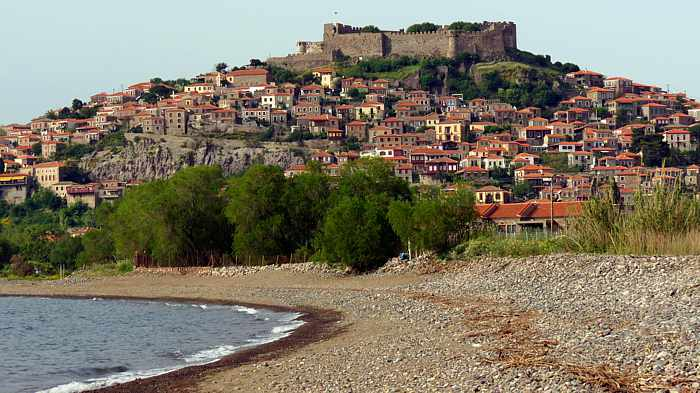 Beach view of Molyvos town on Lesvos island