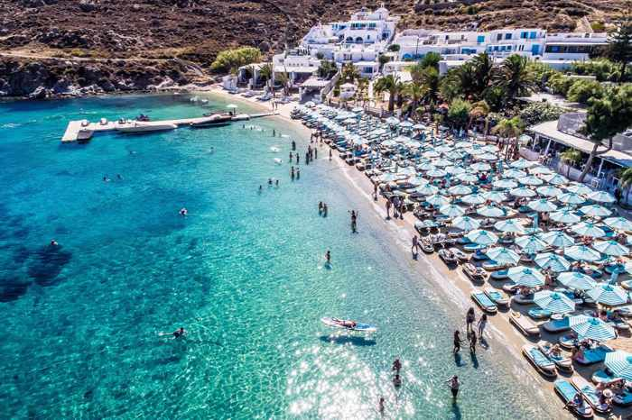 Nammos Mykonos seen in an aerial photo from the beach clubs page on Facebook