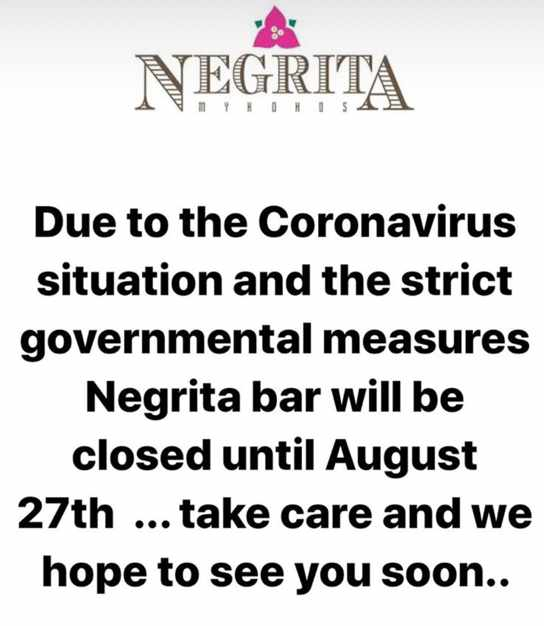 Negrita Bar Mykonos August 2020 closure announcement on social media