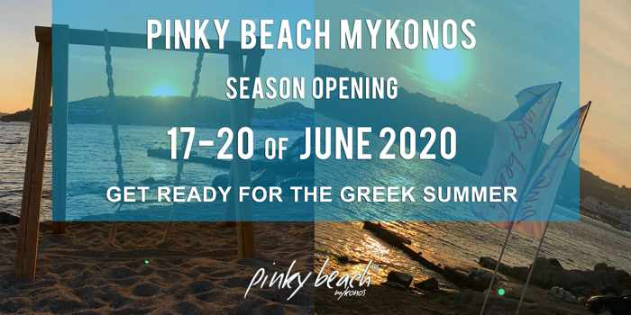 Pinky Beach Mykonos 2020 season opening announcement