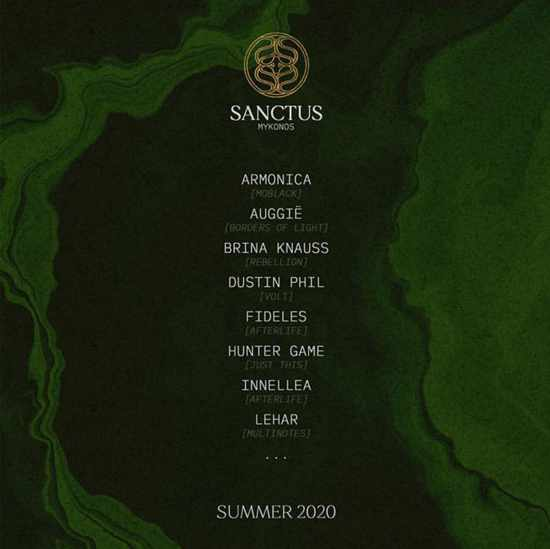 Sanctus nightclub Mykonos event lineup for summer 2020